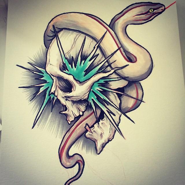 Frozen Skull and Snake tattoo idea