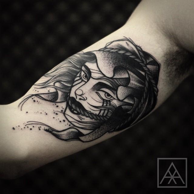 Girl in Wind Dotwork tattoo