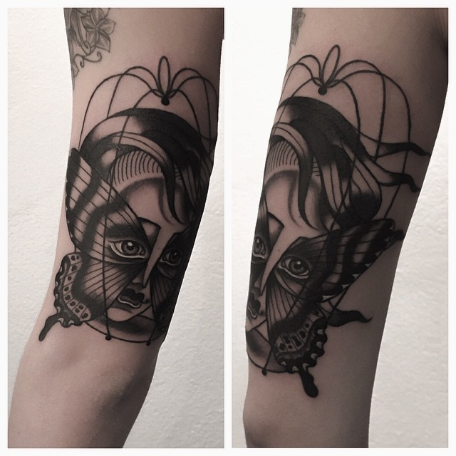 Graphic Butterfly Wings Mask tattoo