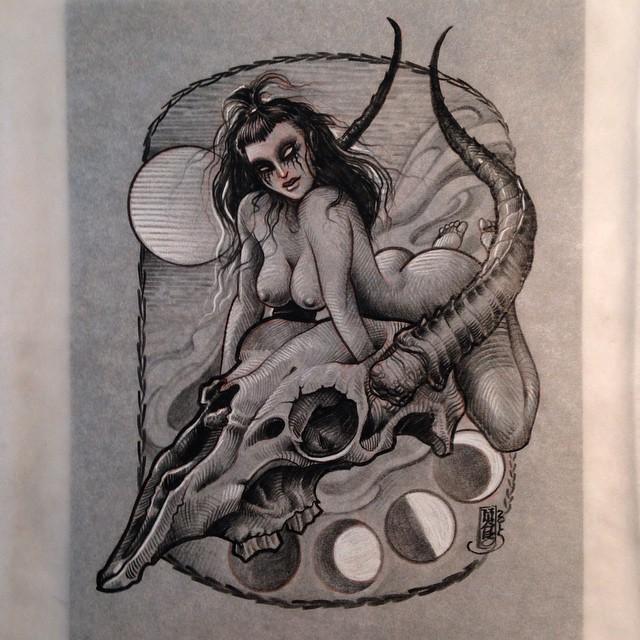 Graphic Goat Skull Girl tattoo idea by Jason Minauro