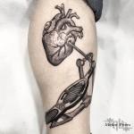Heart Drum Dotwork tattoo on Leg