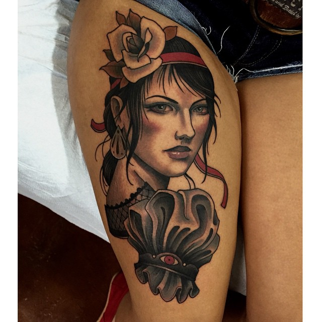 Lemony Snicket Violet tattoo by Chris Primm