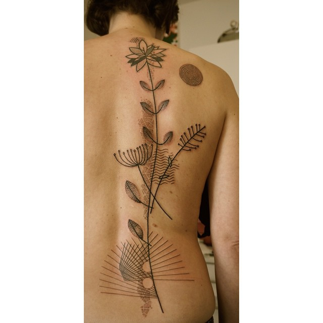 Lines Flowers Dotwork Back Tattoo by Noon Kamikaz