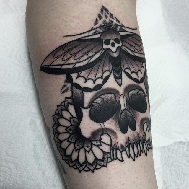 Moth Skull and Flowers