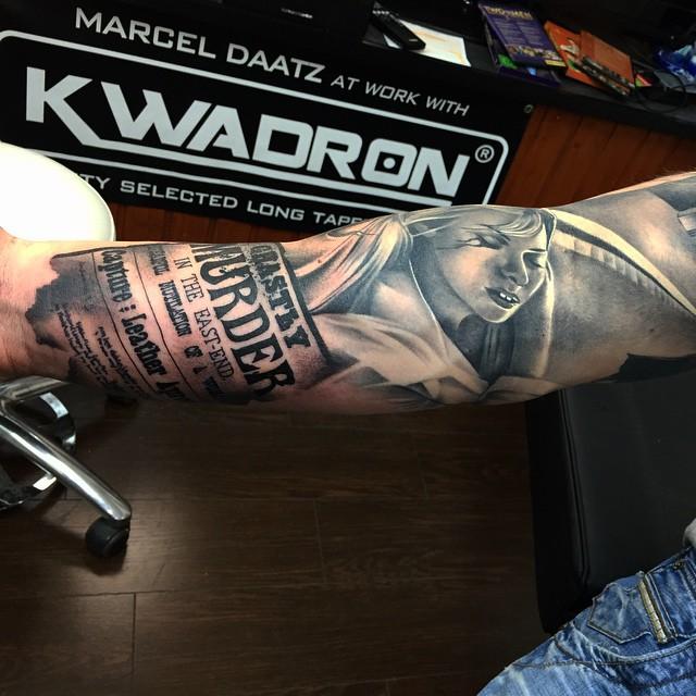 News Parer Realistic Arm tattoo