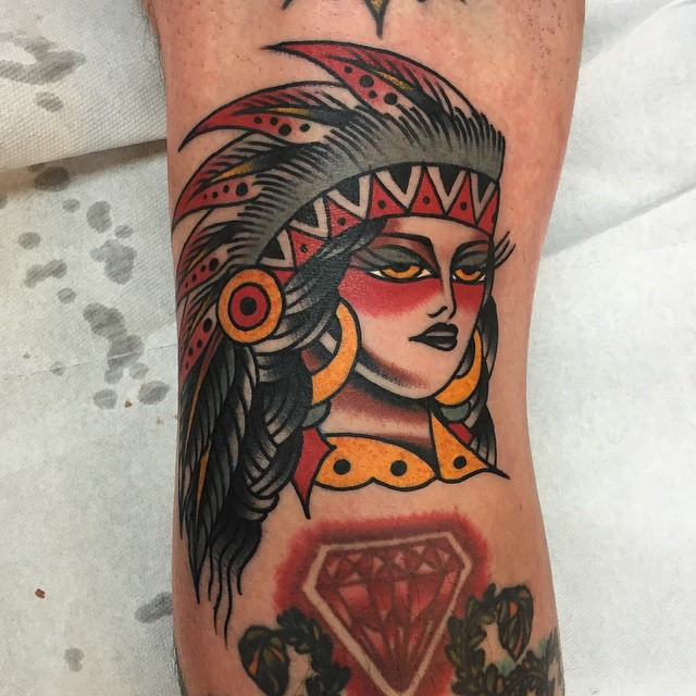 Old School Girl Indian tattoo by Luke Jinks