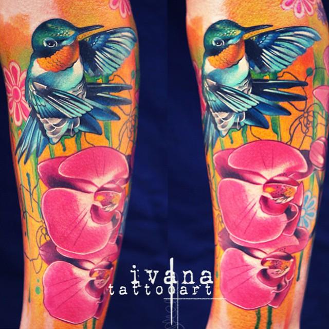 Orchids Hummingbird tattoo