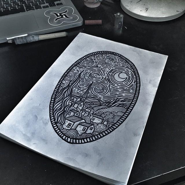 Picassoo Style Town Blackwork tattoo idea by Kolahari