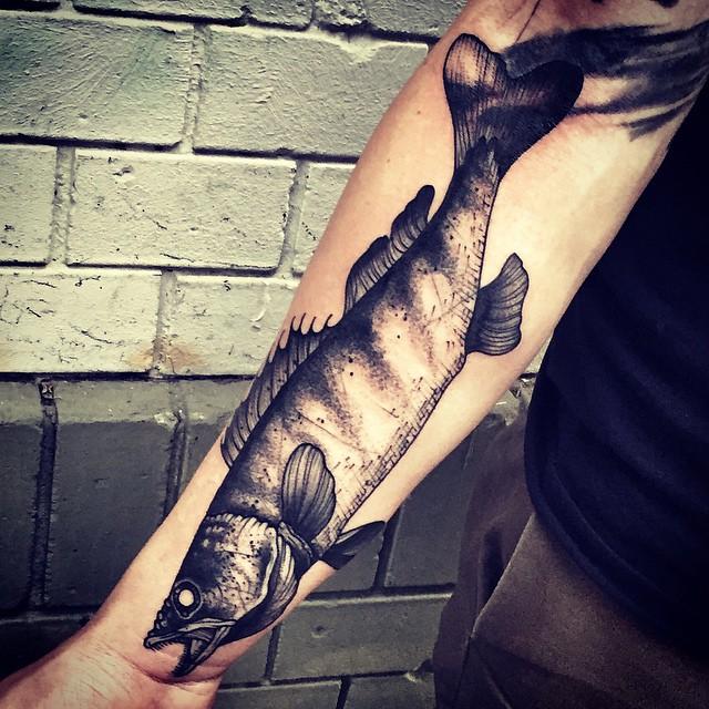 Pike Fish Arm Tattoo