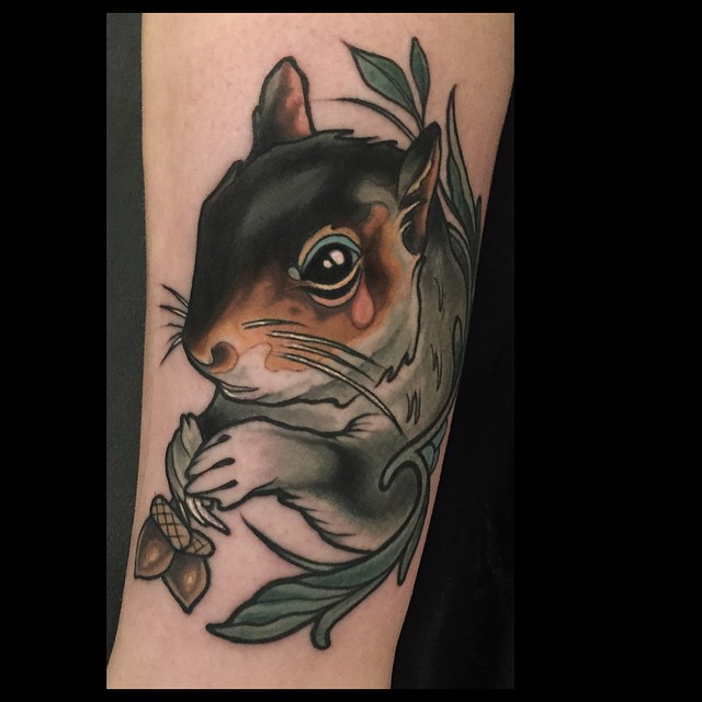 Pink Tear Squirrel tattoo by Brian Povak