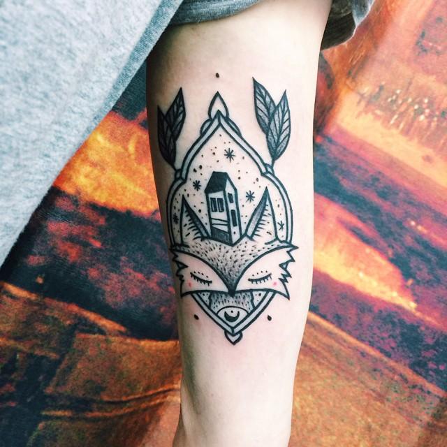 Sleepy Fox Blackwork tattoo by Matik Tattoo