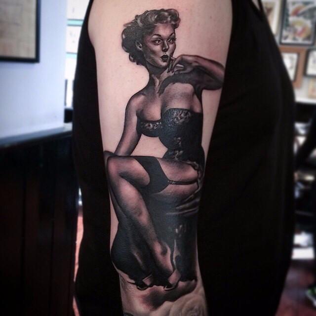 Stockings Girl Arm tattoo