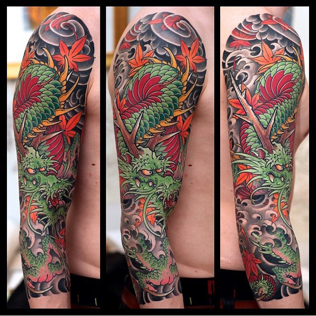 Antlers Dragon Japanese Tattoo Sleeve