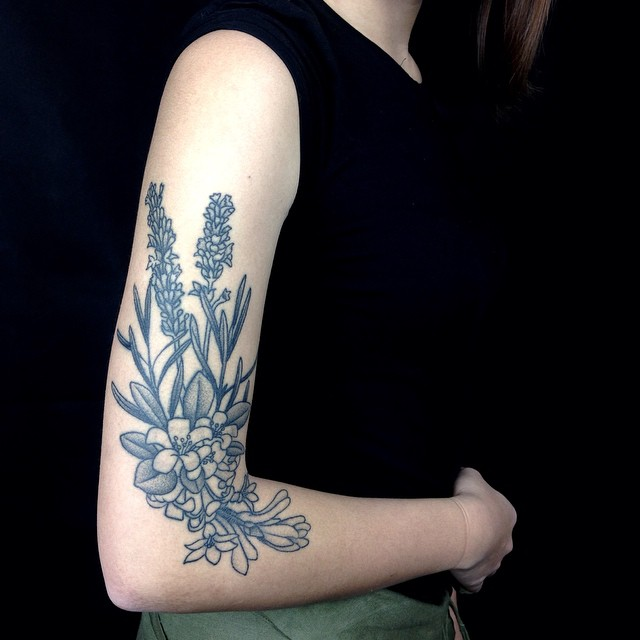 Arm Field Flowers Graphic tattoo