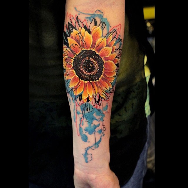 Arm Watercolor tattoo Sunflower