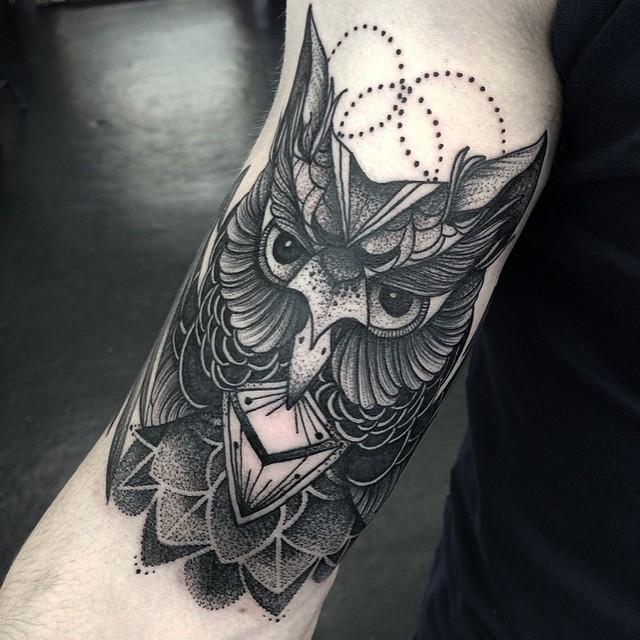 Beautiful Dotwork Owl on Arm