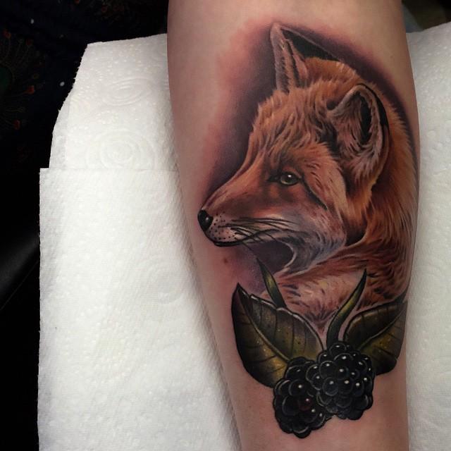 Blackberry Fox tattoo