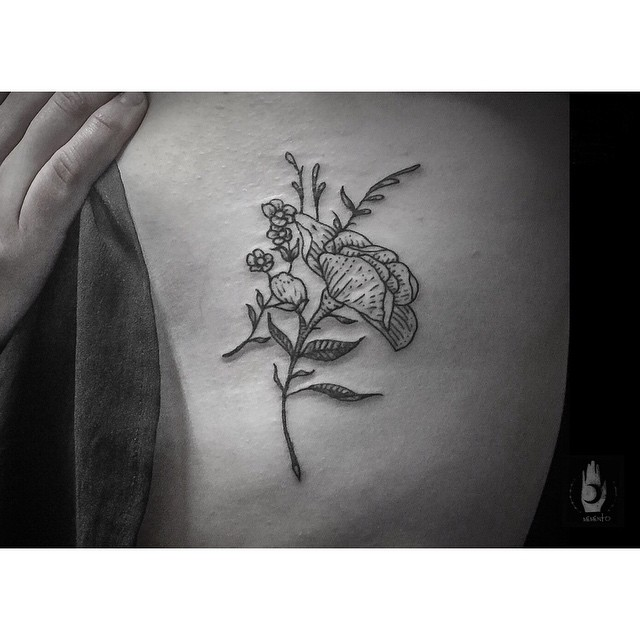 Body Side Flower tattoo