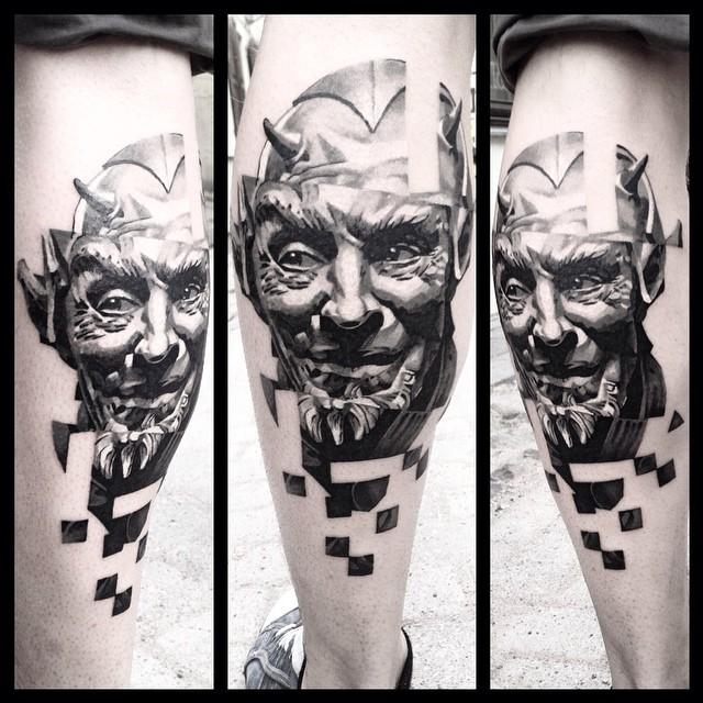 Calf Glitched Devil tattoo