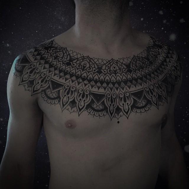 Collar Chest Dotwork tattoo