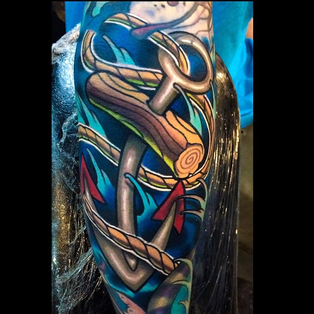 Cool Anchor Elbow tattoo