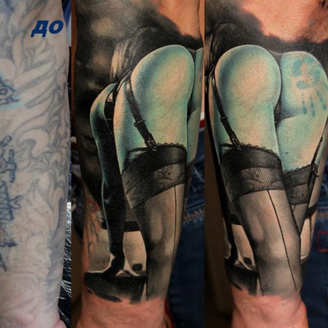 Cover Up Blue Butt tattoo