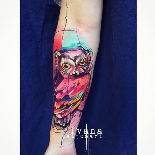 Cute Little Owl tattoo on Arm