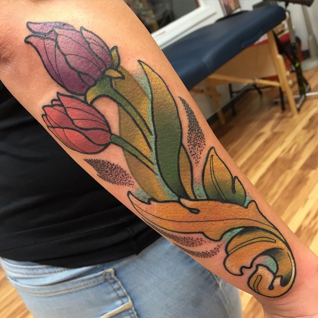 Dotwork Leaf Tulips tattoo