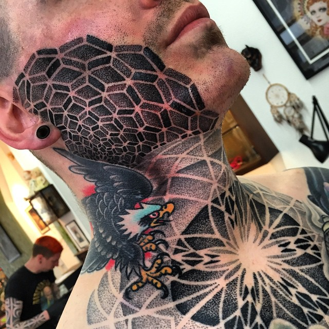 Dotwork Patter Face tattoo