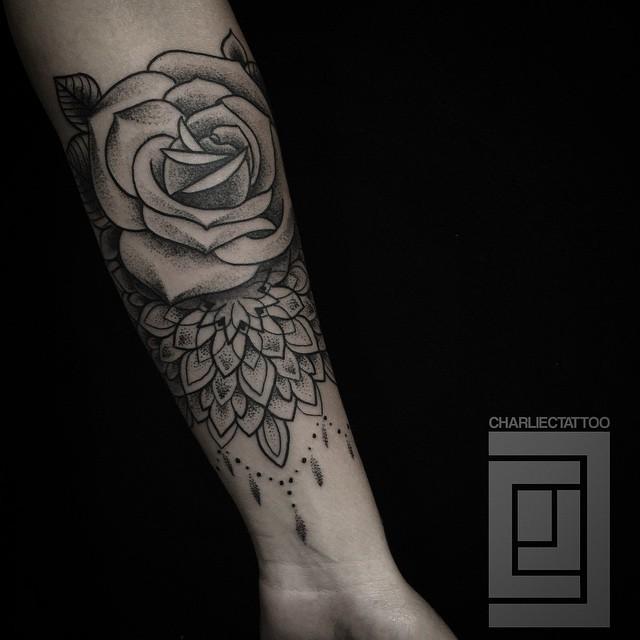 Dotwork Rose Baroque tattoo