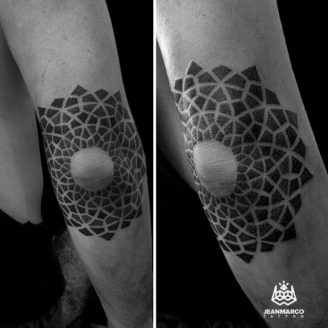 Elbow Sacred Circle Dotwork tattoo