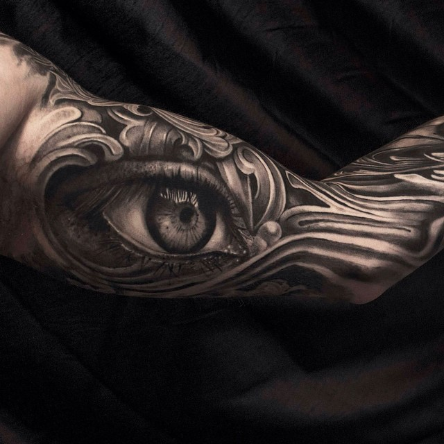 Engraved Realistic Eye Tattoo Sleeve