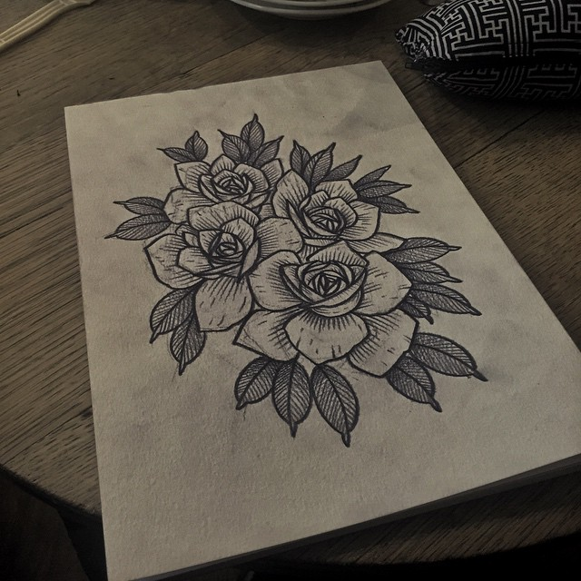 Etching Rose Flowers tattoo design
