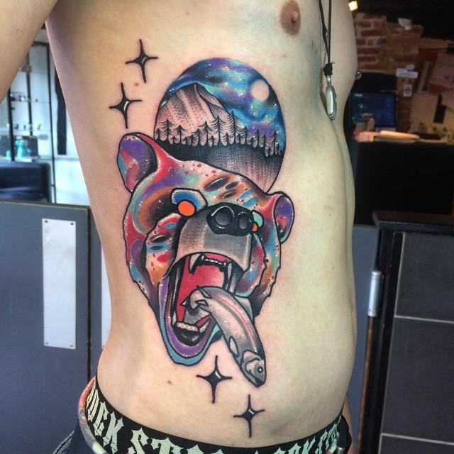 Fishing Bear Body tattoo