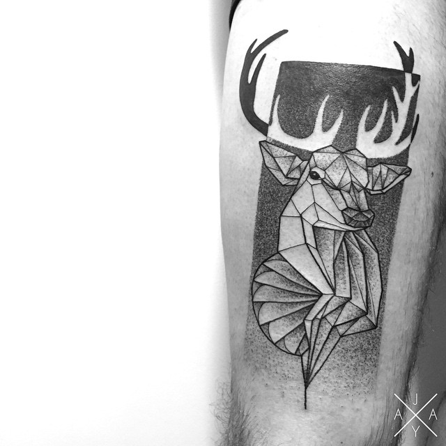 Geometry Stag tattoo on Thigh
