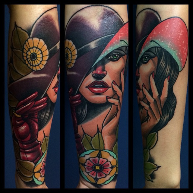 Girl in a Hat tattoo