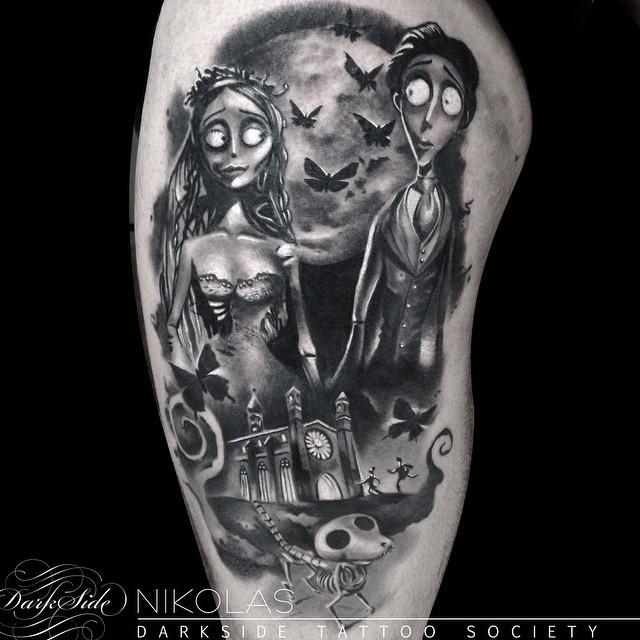 Graphic Corpse Bride Shoulder tattoo