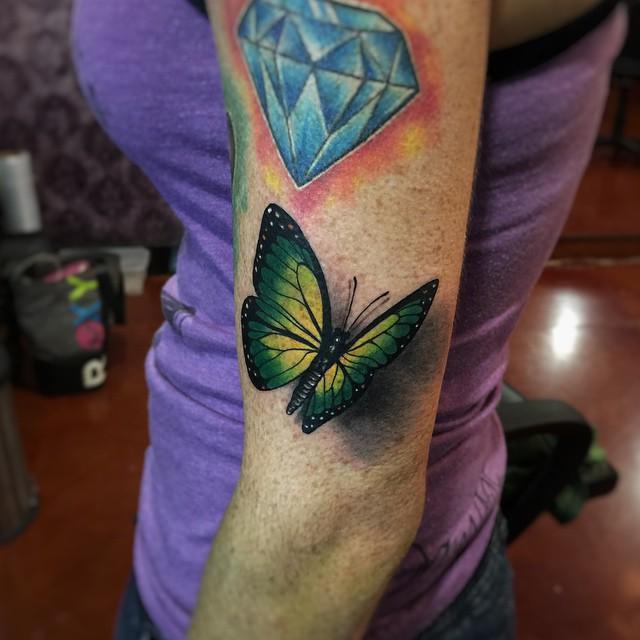 Green Butterfly 3D tattoo