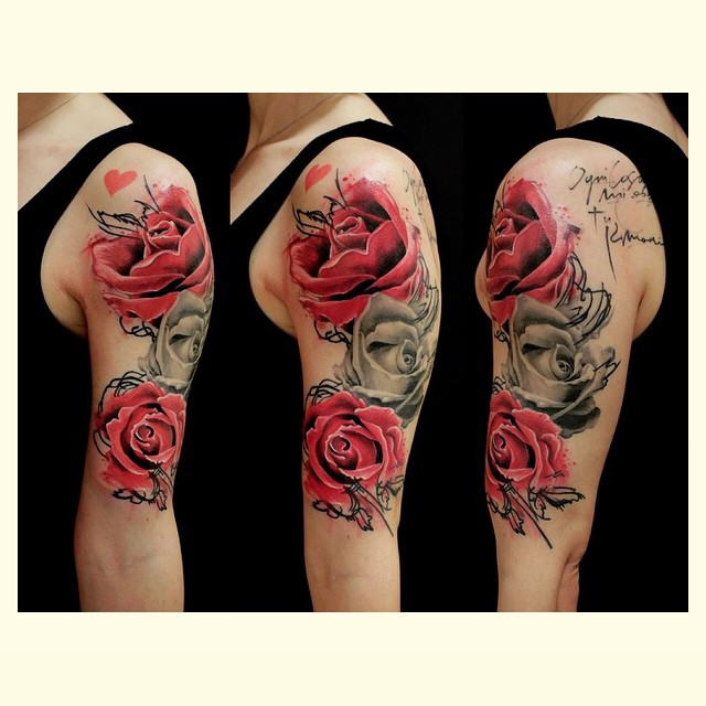 Grey and Pink Roses Shoulder tattoo