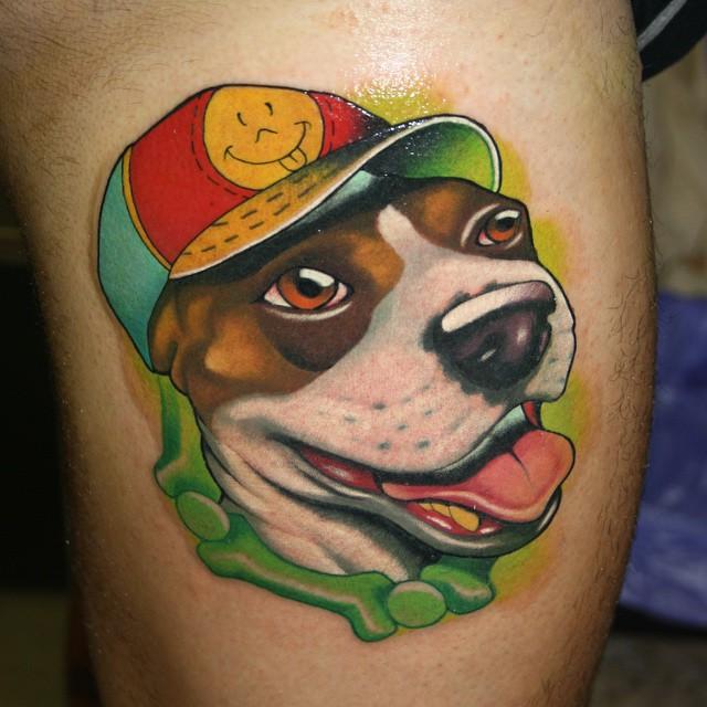Happy Funny Dog tattoo