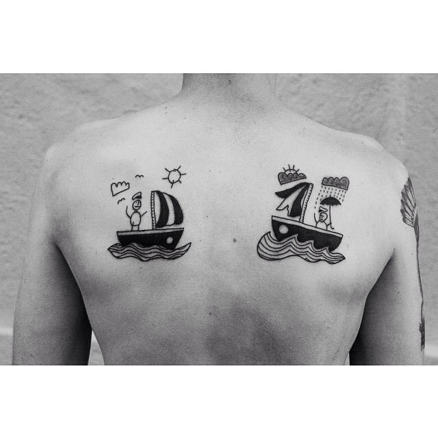 Happy and Sad Sailors Back tattoo