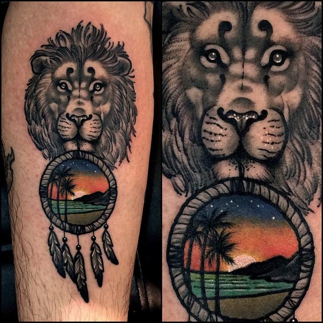 Lion Beach Dream Catcher tattoo