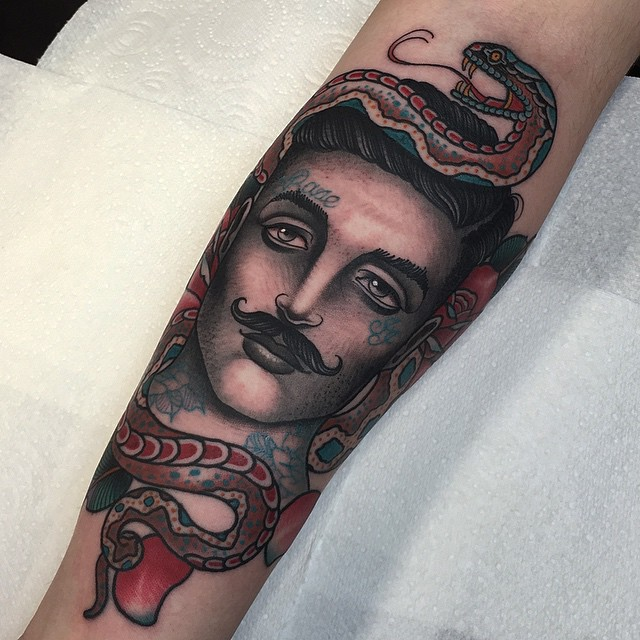 Man with Mustache Arm tattoo