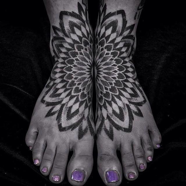 Matching Mandala Dotwork tattoos on feet