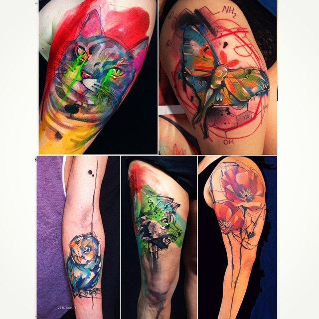Moth Flowers Animals Watercolor tattoos