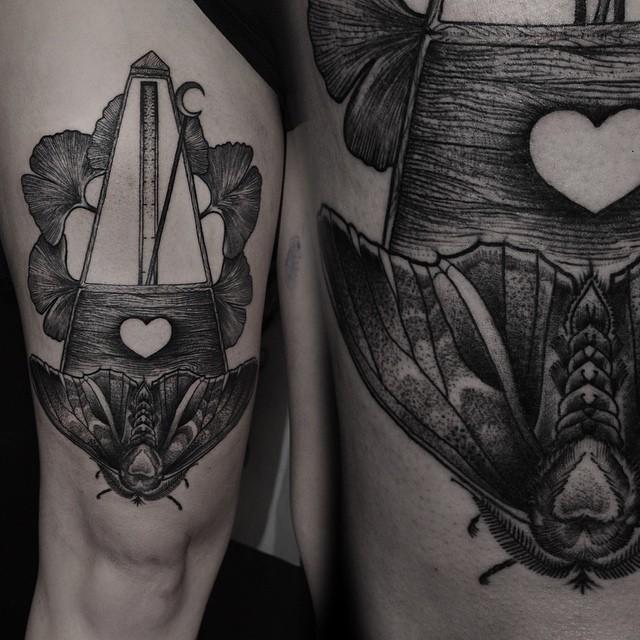 Moth Metronome tattoo