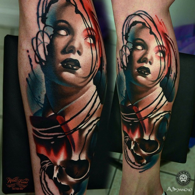 No Eyes Girl tattoo on Leg
