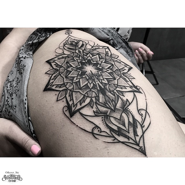 One Side Sharpen Mandala tattoo on Thigh