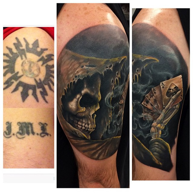 Poker Death Cover Up tattoo