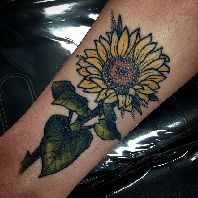 Pretty Sunflower tattoo on Arm